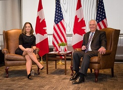 Canadian Deputy PM Chrystia Freeland with U.S. Secretary of State Rex Tillerson in Western dress code at a meeting.