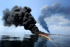Dark clouds of smoke and fire emerge as oil burns during a controlled fire in the Gulf of Mexico, 6 May 2010