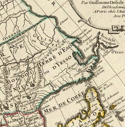 Early 18 c. French map depicting the Vries Strait and the Strait of Tartary.