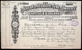 Share of the Dunlop Pneumatic Tyre Company Ltd., issued 23. May 1912