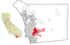 East County communities in red. In dark red are the cities and towns of Santee and El Cajon which mark the western edge of East County. Unincorporated communities are in light red, including Lakeside and Alpine.