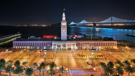 San Francisco Ferry Building at night