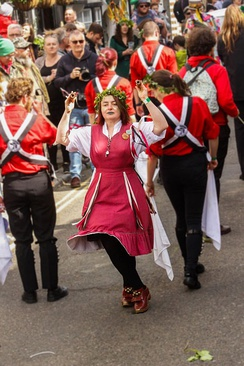 Folk Dancing at Jack in the Green  May Day festival in Hastings, UK.