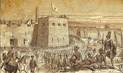In August 1756, French soldiers and native warriors led by Louis-Joseph de Montcalm successfully attacked Fort Oswego.