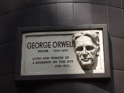 Orwell's time as a bookseller is commemorated with this plaque in Hampstead