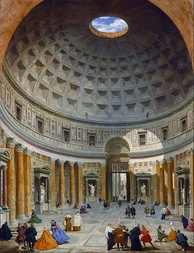 The interior of the Pantheon by Giovanni Paolo Panini, 1758
