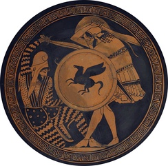 Greek hoplite and Persian warrior depicted fighting, on an ancient kylix, 5th century BC
