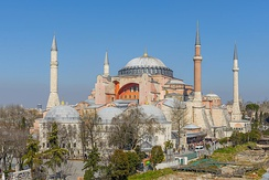 The current Hagia Sophia was commissioned by Emperor Justinian I after the previous one was destroyed in the Nika riots of 532. It was converted into a mosque in 1453 when the Ottoman Empire commenced and was a museum from 1935 to 2020.