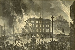 Burning of Union Depot, Pittsburgh, during the Pittsburgh railroad strike of 1877