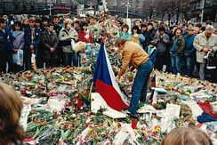 Václav Havel honouring the deaths of those who took part in the Prague protest.