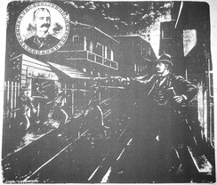 "Artist's conception of Hennessy's murder. ""Scene of the Assassination"", The Mascot, New Orleans, 1890."