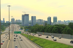 Highway 401 is a 400-series highway that passes west to east through the Greater Toronto Area. The volume of vehicles that use Toronto's portion of Highway 401 makes it the busiest highway in North America, as well as one of the widest.