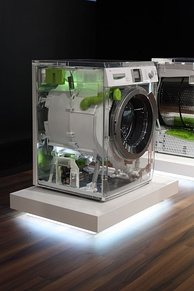 A see-through Bosch machine at the IFA 2010 in Berlin shows off its internal components