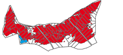 Mother tongue in Prince Edward Island (red: English, blue: French). The only part of the province to have a Francophone majority is the so-called Evangeline Region.