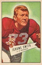 Football card illustration of Smith wearing a number 73 Wisconsin Badgers jersey and no helmet
