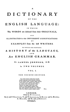 Title page from the second edition of the Dictionary