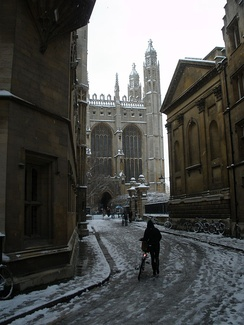 Trinity Lane in the snow, with King's College Chapel (centre), Clare College Chapel (right), and the Old Schools (left).