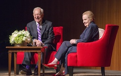 Bob Schieffer and Madeleine Albright at the LBJ Presidential Library in 2017