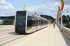 Alstom tram in Tours crossing the Loire river.