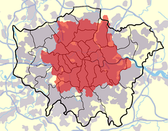 The London postal district in red in contrast to Greater London