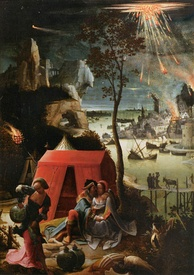 Lucas van Leyden's 1520 painting Lot and His Daughters shows Biblical Sodom as a typical Dutch city of the painter's time.
