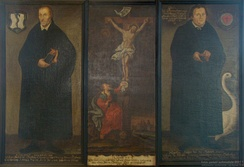 Melanchthon and Luther with Christ crucified in the middle