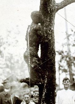 Lynching of Jesse Washington in Waco, Texas, on May 15, 1916. He was repeatedly lowered and raised onto a fire for about two hours. A professional photographer took pictures of the lynching as it unfolded.