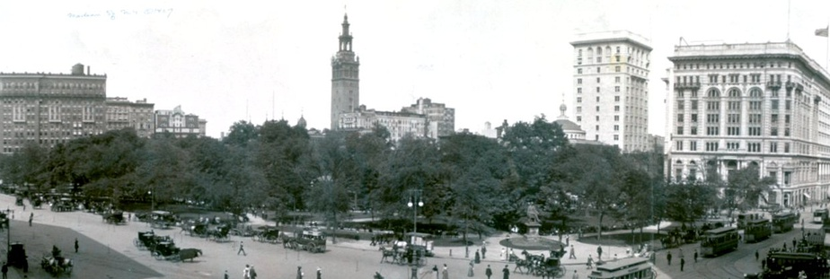 The 32-story tower of Madison Square Garden dominates the skyline over Madison Square and Madison Square Park in this 1908 image.