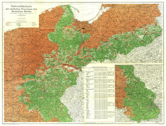 Majority Polish (green) and German areas in the Corridor (German 1910 census).