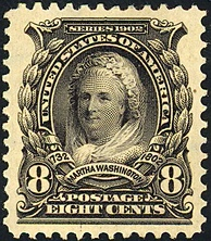 The first Martha Washington postage stamp, issue of 1902.