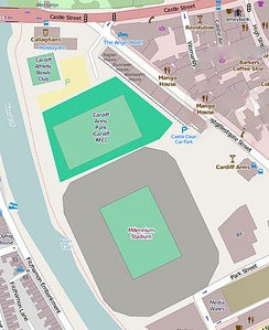 Map of the Millennium Stadium (south ground) and Cardiff Arms Park (north ground)