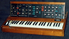 The Minimoog Model D, a Moog synthesizer which was produced from 1971 to 1984.