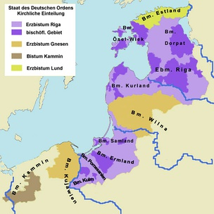 Situation after the conquest in the late 13th century. Areas in purple under control of the Monastic State of the Teutonic Knights