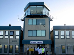 The air traffic control tower at Oxford Airport
