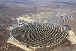 Solar towers of the PS10 and PS20 solar thermal plants in Spain