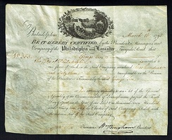 "Share of the ""Company of the Lancaster and Turnpike Road"", issued March 16, 1795, signed by William Bingham"