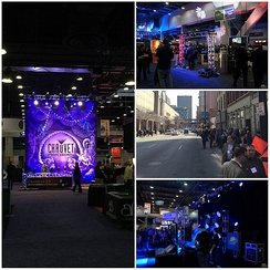A photo collage of some of the views of the USITT Conference and Stage Expo in Cincinnati, OH, 2015