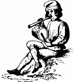 A Christmas minstrel playing pipe and tabor