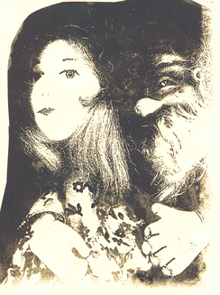 Puppets, a 2002 photo of a lithograph from xerographic direct imaging of two 20th-century hand puppets