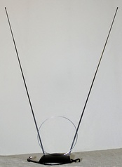 """Rabbit ears"" dipole antenna for VHF television reception"
