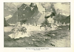 The Fleet Passing Through the Magellan Straits by naval artist Henry Reuterdahl, who traveled with the fleet on USS Culgoa
