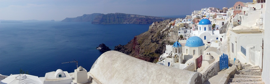 A panoramic view of the Santorini caldera, taken from Oia.