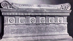 The tomb of Lucius Cornelius Scipio Barbatus, erected around 150 BC, contains an Old Latin inscription in Saturnian Metre.