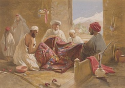 A Muslim shawl-making family shown in Cashmere shawl manufactory, 1867, chromolith., William Simpson.