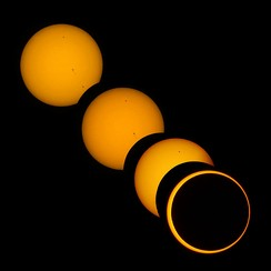 Partial and annular phases of solar eclipse on May 20, 2012