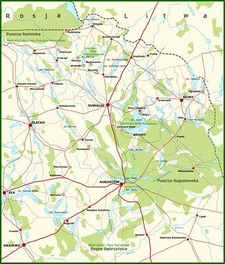 Map of the Suwałki Region. Its many forests and lakes complicated the military actions.