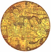 "Mappamondo Borgiano, also known as ""Tavola di Velletri"", consisting of two copper tablets (1430)"
