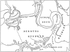 Bermuda Hundred and other early English settlements upriver of Jamestown