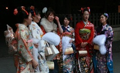 "At Meiji jingu on ""Coming Of Age Day"", in formal kimono, complete with Fā"