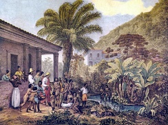 Indigenous people at a Brazilian farm plantation in Minas Gerais ca. 1824